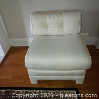 Beautiful Cream Colored Armless Accent Chair