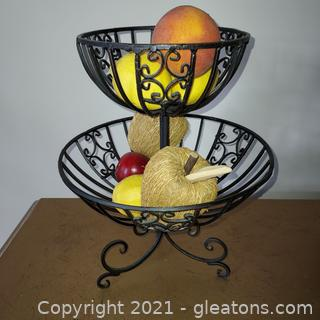 Wrought Iron 2 Tier Basket – Includes Fruit