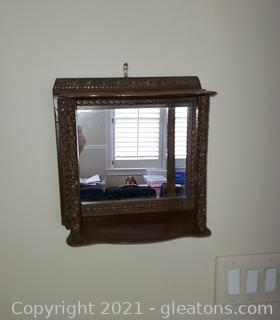 Small Ornate Mirrored Wall Shelf