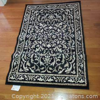 Nice Black, Tan and Ivory Accent Rug – American Rug Inc.