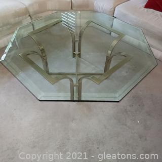 Octagonal Beveled Glass Top Coffee Table on Brass Tone Metal Base