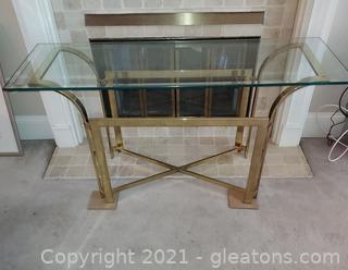 Rectangular Beveled Glass Top Sofa/Foyer Table on Brass Tone Base