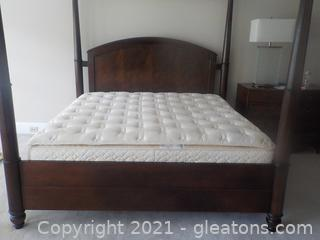King Size Cherry 4-Poster Bed with Stearns and Foster Mattress/Dual Box Springs LOT 5012 includes optional LACE VALANCES for the top posters' perimeter