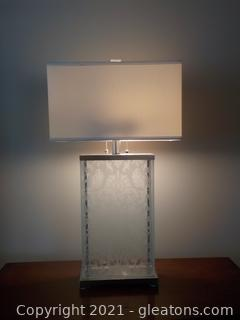 Distinctive Modern Glass and Silvertone Table Lamp with Dual Pulls