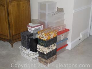Large Lot of Storage Containers and Organizers