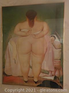 Whimsical Framed Art Print Woman Wearing Only Heels and a Towel Going to Wake Sleeping Man