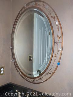 Large Oval Wall Mirror With Bronze – Look and Crystal Embellishment