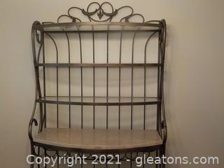 Distinctive Wrought Iron and Glass Baker's Rack with a Marble Top Shelf