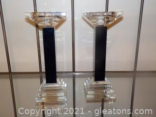 Pair of Modern Clear and Black Glass Candlesticks