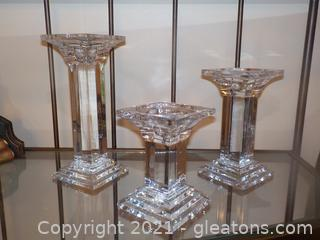 Trio of Modern Clear Glass Pillar Candle Sticks