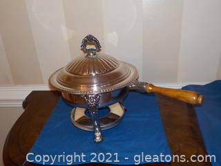 Beautifully Ornate 4-Piece Chafing Dish (Silver Plate)