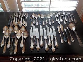 45-Piece Set of Wellner Nicht Rostend 90 30 Silver Plate Flatware