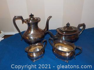 Sheffield Silver Service Coffee, Tea, Sugar Creamer (Silver Plate)