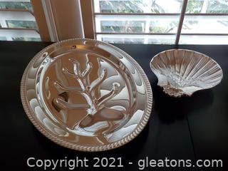 F.B Rogers Silverplate Meat, Tray on Feet and International Silver Co.Silverplated Shell Tray