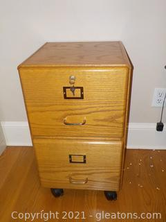 Rolling ,Wooden 2 –Drawer File Cabinet