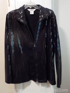 Sparkling Black Waist Length Ladies Jacket by Misook
