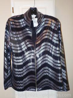 Stunning Silver and Black Ladies Jacket by Misook New with Tags
