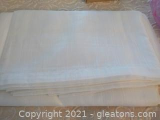 Group of 4 White Scarf Valances and 4 Brass Accent Pieces  These go with the Poster bed on Lot 5000
