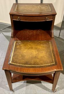 English Two-Tier Leather Top Side Table
