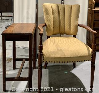 Charming Fan Back Chair and Telephone Table