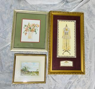3 Signed Lovely Wall Decor Prints