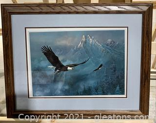 Soaring Eagles and Snow Capped Mountain Print