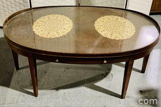 Wood Inlay Oval Ledged Glass Coffee Table