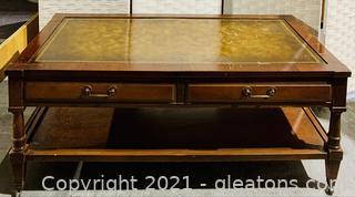 Mid Century Mahogany Leather Top Coffee Table