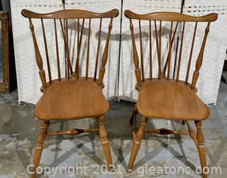 A Pair of Windsor Fan Back Dining Chairs