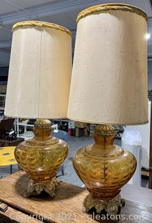 A Pair of Gold Glass Table Lamps