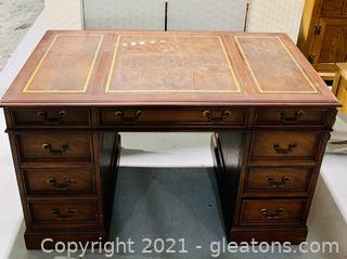 Timeless Mahogany Leather Top Desk