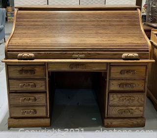Solid Wood Roll Top Desk