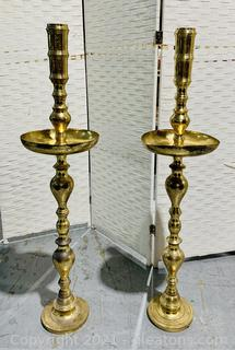 1960's Tall Turkish Moroccan Brass Candle Holders