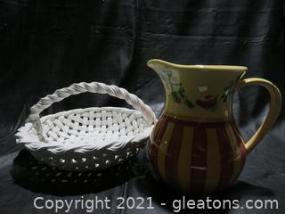 Gail Pittman Pottery Pitcher and Pottery Bread Basket