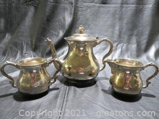 The Middletown Plate Company Silverplated Teapot, Sugar and Creamer
