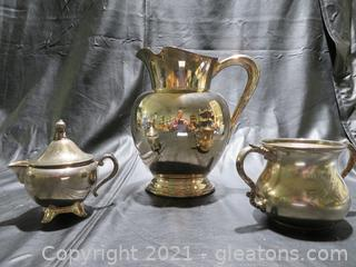 Silver Plated Water Pitcher Creamer and Sugar