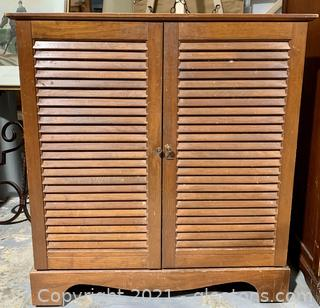 Louvered Door Wooden Cabinet