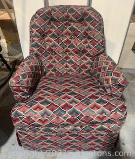 Red and Green Swivel Arm Chair