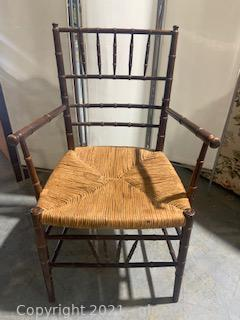Bamboo Inspired Chair with Rush Seating I