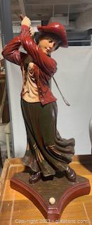 Victorian Female Golfer Resin Statue