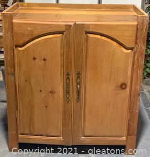 Wooden Knotty Pine Cabinet