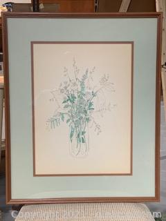 Vintage Framed Mary Lon Goertzen Botanical Watercolor Art