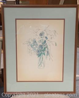Vintage Framed Mary Lon Goertzen Botanical Water Color Art