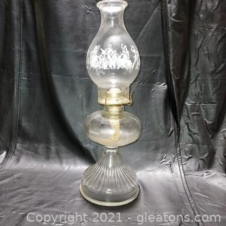 Collectible Oil Lamp with Flamenco Dancer Chimney