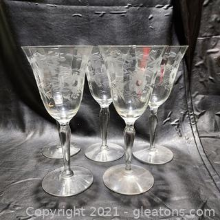5 Beautiful Etched Wine Glasses