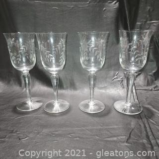4 Stemmed Beautifully Etched Wine Glasses