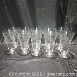 Set of 10 Beautifully Etched Iced Tea Glasses
