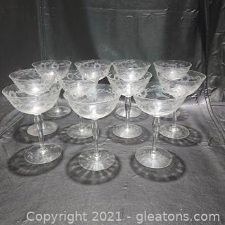 Set of 11 Beautifully Etched Stemmed Champagne Glasses