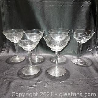 Set of 6 Etched Delicate Stemmed Claret Glasses
