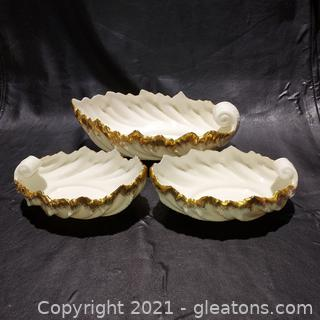 Set of 3 Lovely Lenox Shell Bowls